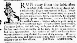 Oct 27 - Virginia Gazette Purdie and Dixon Supplement Slavery 3