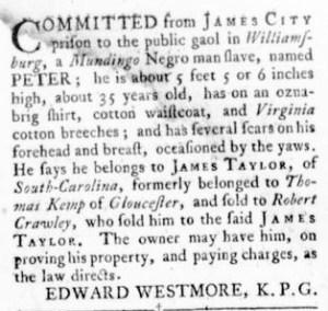 Oct 27 - Virginia Gazette Rind Slavery 8