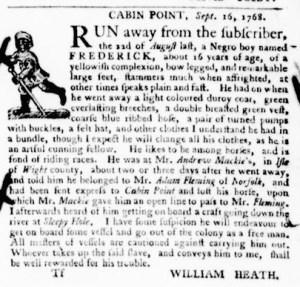 Oct 6 - Virginia Gazette Purdie and Dixon Slavery 9