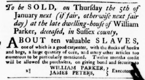 Dec 1 - Virginia Gazette Purdie and Dixon Slavery 1