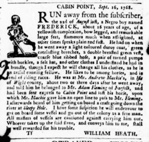 Dec 1 - Virginia Gazette Purdie and Dixon Slavery 10