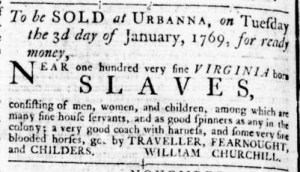 Dec 1 - Virginia Gazette Rind Slavery 1