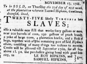 Dec 1 - Virginia Gazette Rind Slavery 2
