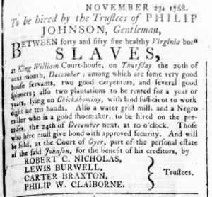 Dec 1 - Virginia Gazette Rind Slavery 4