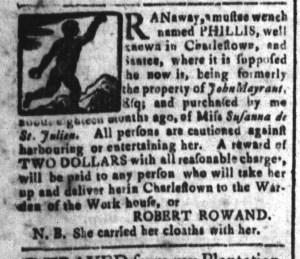 Nov 25 - South-Carolina and American General Gazette Slavery 1