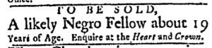 Nov 28 - Boston Evening-Post Slavery 1