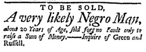 Nov 28 - Massachusetts Gazette Green and Russell Slavery 1