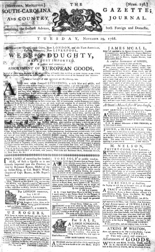 Nov 29 - 11:29:1768 South-Carolina Gazette and Country Journal