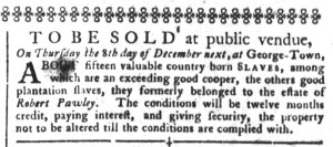 Nov 29 - South-Carolina Gazette and Country Journal Slavery 1