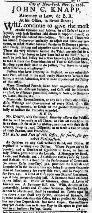 Nov 3 - 11:3:1768 New-York Journal