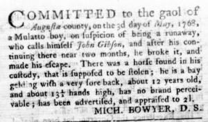 May 11 - Virginia Gazette Rind Slavery 1