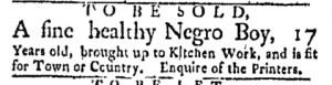 May 15 - Boston Evening-Post Slavery 1