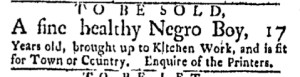 May 15 - Boston Evening-Post Slavery 1