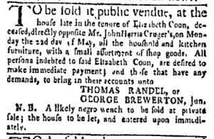 May 15 - New-York Gazette Weekly Mercury Slavery 3
