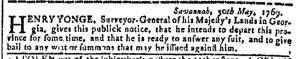 May 31 - 5:31:1769 Georgia Gazette