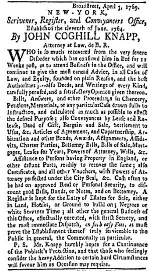 May 8 - New-York Gazette Weekly Mercury Slavery 5