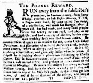 Jul 6 - Virginia Gazette Purdie and Dixon Slavery 5