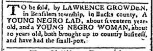 Jun 12 - Pennsylvania Chronicle Slavery 1