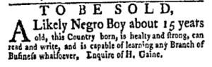 Jun 5 - New-York Gazette Weekly Mercury Supplement Slavery 2
