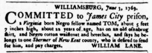 Jun 8 - Virginia Gazette Purdie and Dixon Slavery 3