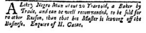Aug 7 - New-York Gazette and Weekly Mercury Slavery 1