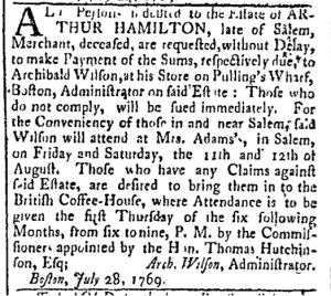Aug 8 - 8:8:1769 Essex Gazette