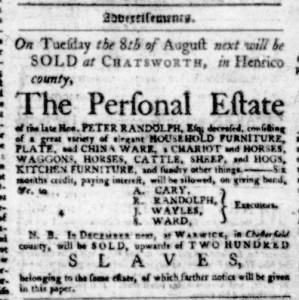 Jul 13 - Virginia Gazette Purdie and Dixon Slavery 1