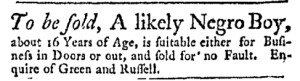 Jul 24 - Massachusetts Gazette Green and Russell Slavery 1
