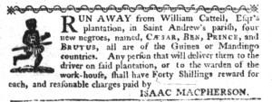 Jul 27 - South-Carolina Gazette Supplement Slavery 1