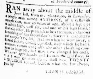 Jul 27 - Virginia Gazette Rind Slavery 1