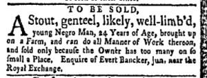Sep 18 - New-York Gazette and Weekly Mercury Slavery 1