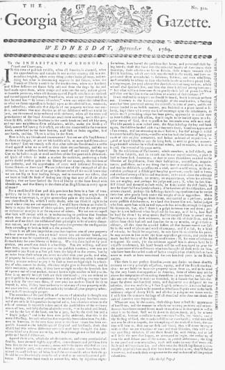 Sep 6 - 9:6:1769 Georgia Gazette