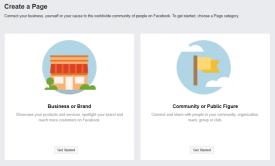 Facebook Create a Page Option