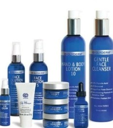 grouping of Glyderm products skincare facial glycolic