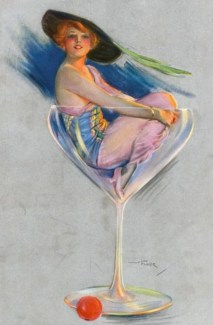 french womam in champagne glass