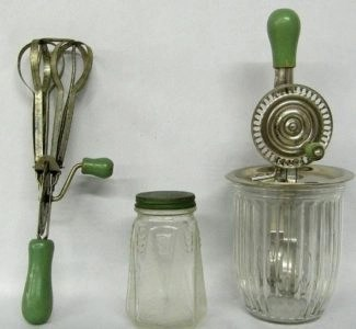 greem handled kitchen tools vintage