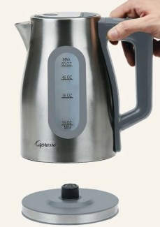 stock photo for holiday article capresso h20 select electric water kettle