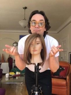 """photo of David stanko withg """"Erika"""" manniquen head"""