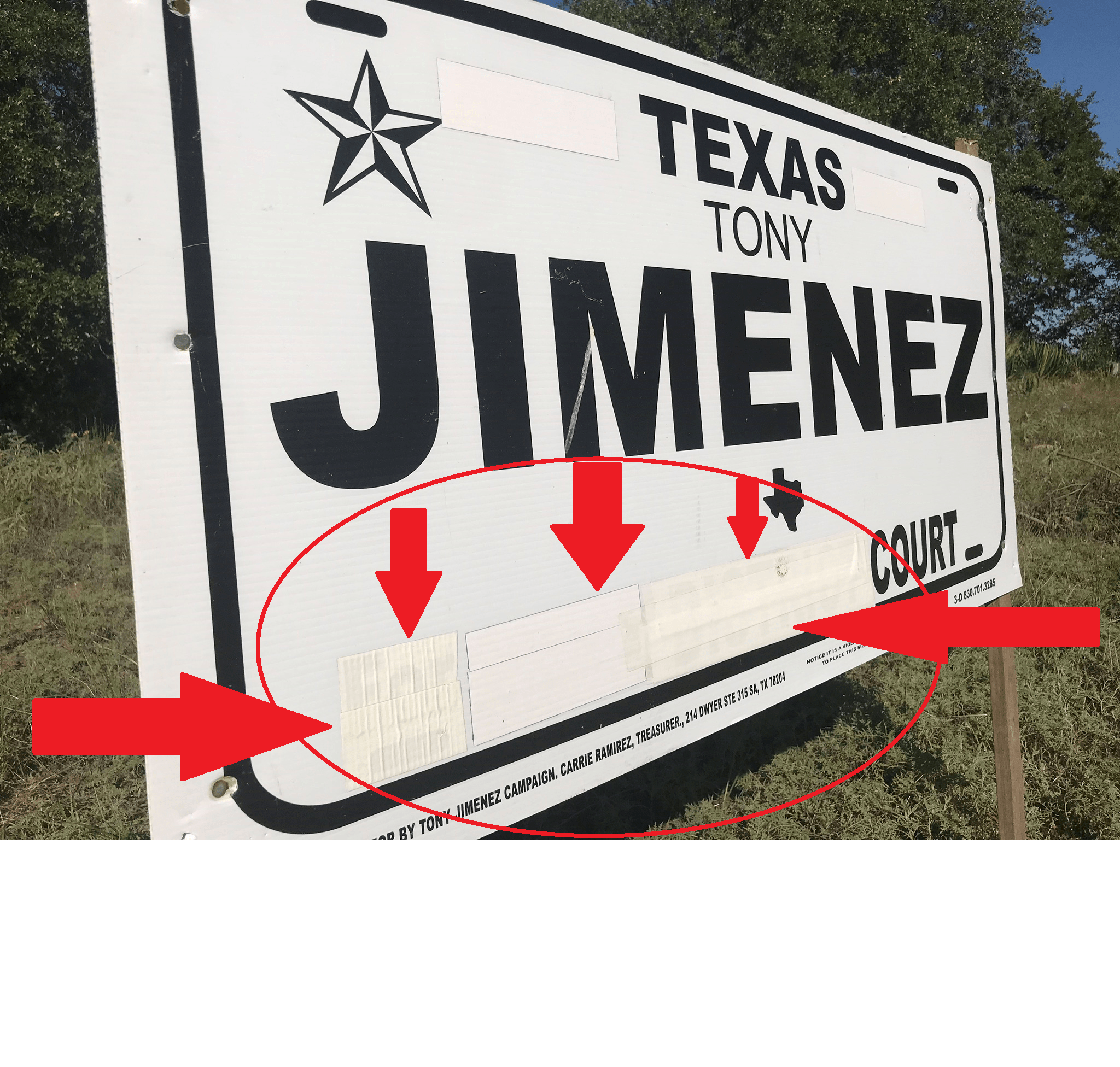 Duct-Taped Over Political Sign