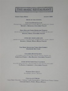 Menu from the Marc Restaurant