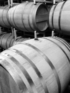 Barrage Cellars barrel room black & white
