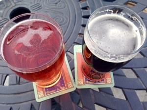Beer and cider at the top of Hotel Oregon