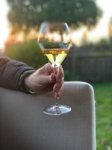 a glass in hand
