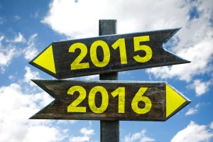 2015 - 2016 signpost with sky background