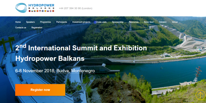 "2nd Annual Summit ""Hydropower Balkans 2018"""