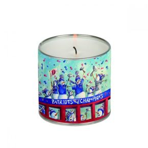 """Gina Hagen's card design """"Patriot Snowmen"""" is also featured on a 14.5 ounce candle."""