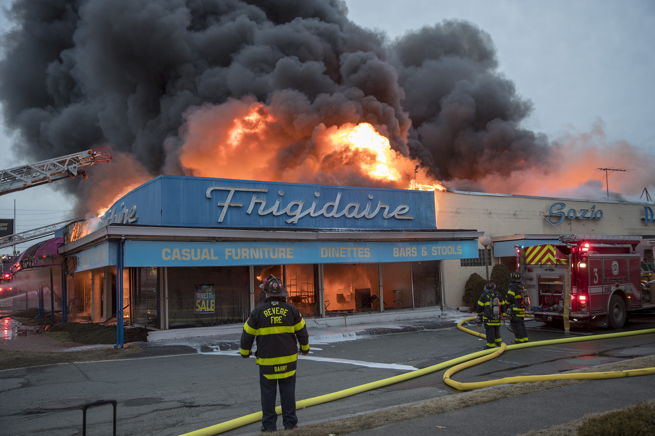 February 17, 2018-Revere,MA. Revere and area firefighters battle a 5 alarm fire at 61q Squire rd, Sozio Appliances. Staff photo by Mark Garfinkel