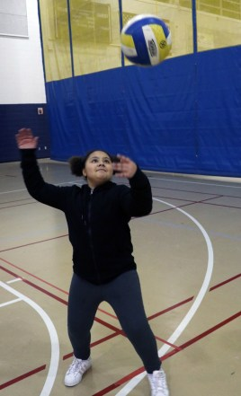 Fifth grader Olivia Ivy gets in a little practice.
