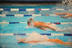 Johnny Stumpf 100 yard butterfly, placed second in race