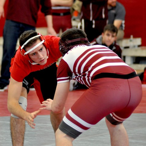 Dan McCullough takes on Gloucester's Liam Donahue.
